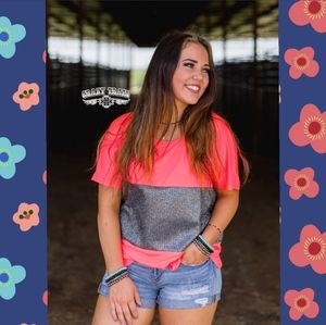 Neon coral, sparkle Tee